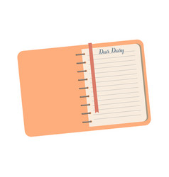 personal diary on a white background notebook for vector image