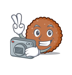 Photographer chocolate biscuit mascot cartoon vector