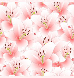 Pink lily flower seamless background vector