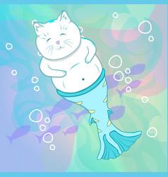 pretty cat mermaid underwater vector image