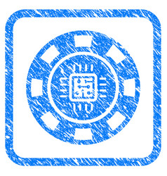 Processor casino chip framed grunge icon vector