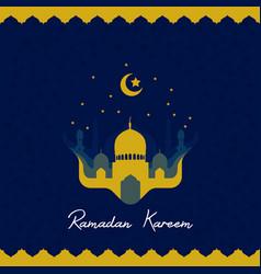 Ramadhan kareem greeting card with mosque vector