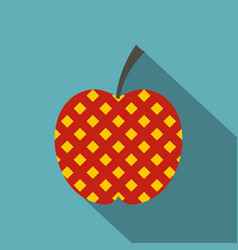Red and yellow checkered apple icon flat style vector