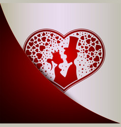 Red white background with silhouette of heart and vector