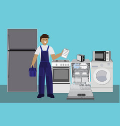 repairman master repairing dishwasher with vector image