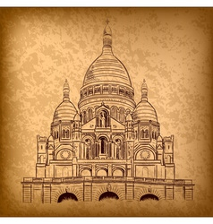 Sacre coeur on the old paper vector