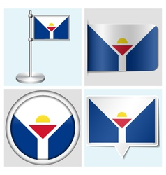 Saint martin flag - sticker button label vector