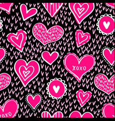seamless hearts pattern-06 vector image