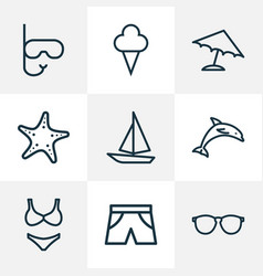 Season outline icons set collection of ice cream vector