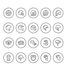 Set round line icons of helmets and masks vector