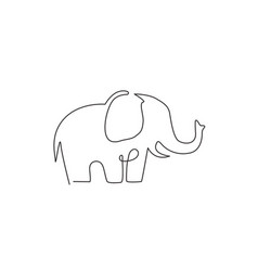 Single continuous line drawing big cute vector