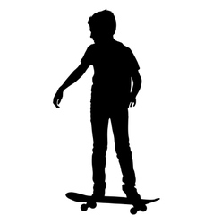 skateboarders silhouette vector image