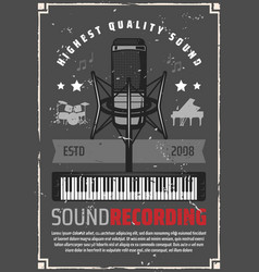 Sound recording retro poster for music industry vector