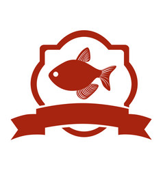 Sticker heraldic borders with fish and label vector