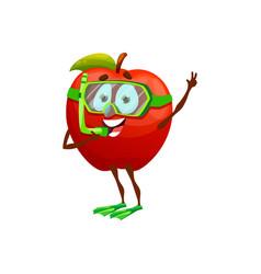 summer fruit apple in diving mask tube flippers vector image