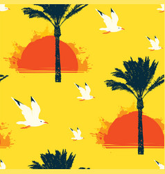 summer seamless pattern with sun palms and gulls vector image
