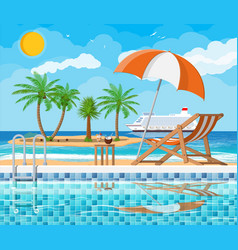 Swimming pool and lounger island vector