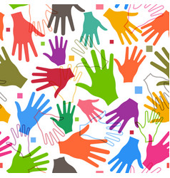 teamwork happy hands seamless pattern vector image