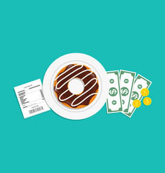 Tip and bill money in restaurant plate vector