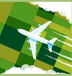 top view airplane in clouds vector image