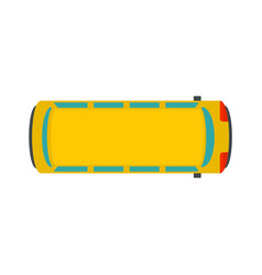 top view school bus icon flat style vector image