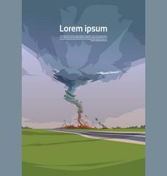 Tornado in countryside hurricane landscape vector