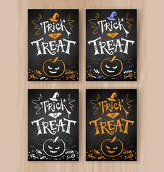 Trick or treat halloween postcards vector