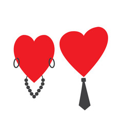 two hearts of a man and a woman together vector image