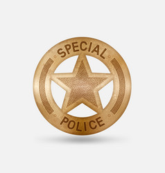 vintage bronze badge special police star vector image