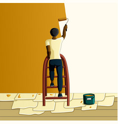 Wall painting african american man vector