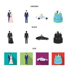 wedding and attributes cartoon flatoutlineblack vector image