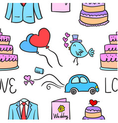 wedding element doodle style collection vector image