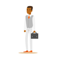 young confident african american businessman with vector image