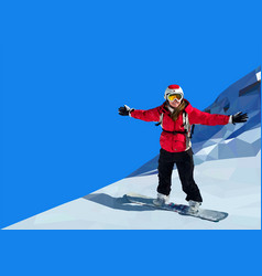 young woman snowboarding on top of mountain vector image