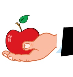 Business Hand Holding Red Apple vector image vector image