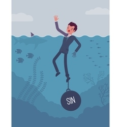 Businessman drowning chained with a weight sin vector