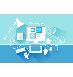 Flat design of modern devices vector image vector image