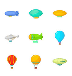 Old air transport icons set cartoon style vector