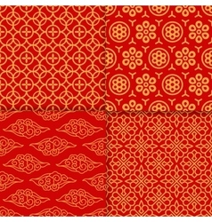 Red geometric pattern set vector image vector image