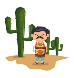 background cactus with traditional mexican man vector image vector image