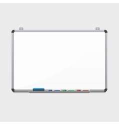 blank white board with colored markers vector image vector image