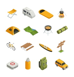 Camping Hiking Isometric Icon Set vector image vector image