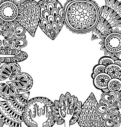 Hand drawn frame with doodle trees vector image