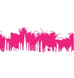 pink cityscape splash vector image vector image