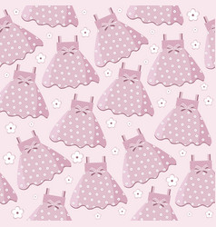 seamless pattern with baby girl dresses vector image