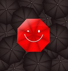Umbrella Against Black Umbrellas vector image