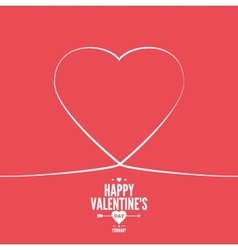 Valentines card with line heart vector image vector image