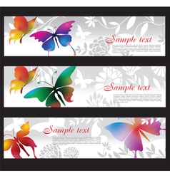 banners with colorful butterflies vector image vector image