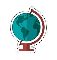 Cartoon globe world map icon vector