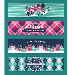 Christmas and new year set plaid backgrounds vector